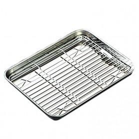 NLSLASI Loyang Nampan Baking Sheet Tray Rack Removable Stainless Steel Size XL - NL28 - Silver