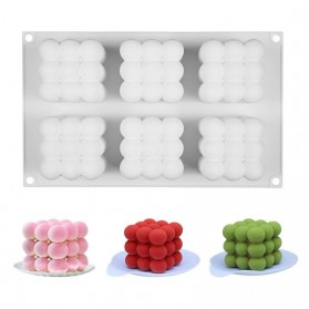 Miki Cetakan Kue 3D Cube Baking Cake Dessert Molds Candle Silicone 6 Cavities - MH02 - White