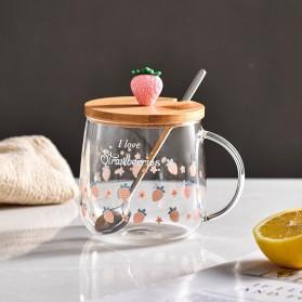 GU26C Gelas Mug Water Coffee Milk Juice Glass 3D Lid Strawberry 330ml - BC1236 - Transparent