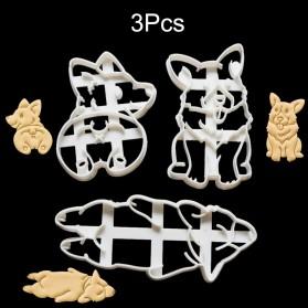 Allforhome Cetakan Kue Cookies Cutters Mold Corgi Dog Shaped 3 PCS  - H111506 - White