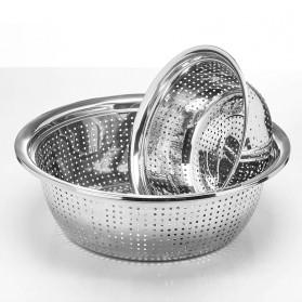 Supple Baskom Saringan Drainer Filter Water Fruit Vegetable Stainless Steel 28cm - C0064 - Silver