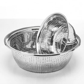 Supple Baskom Saringan Drainer Filter Water Fruit Vegetable Stainless Steel 34cm - C0064 - Silver