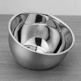 Supple Baskom Saringan Inclined Drain Rice Bowl Washer Fruit Basket 304 Stainless Steel 23cm - C0065 - Silver