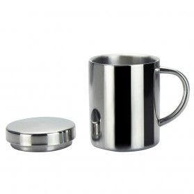YOMDID Gelas Susu Kopi Teh Bir Mug Double Insulation Stainless Steel 300ml with Lid - HH-8605 - Silver