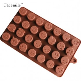 Facemile Cetakan Emoji Kue Coklat Permen Silicone Mold - CH002 - Brown - 5