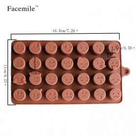 Facemile Cetakan Emoji Kue Coklat Permen Silicone Mold - CH002 - Brown - 6