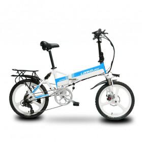 Lankeleisi Sepeda Elektrik Lipat Smart Moped Elite Version 48V 10.4AH Free Back Seat - G550 - White/Blue
