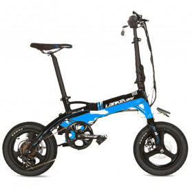 Lankeleisi Sepeda Elektrik Lipat Smart Moped Deluxe Version 36V 8.7AH Free Back Seat - A6 - Black/Blue