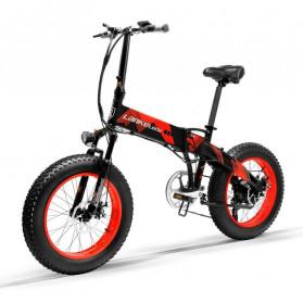 Lankeleisi Sepeda Elektrik Lipat Smart Moped 48V 10AH 1000W - X2000 Plus - Black/Red - 2