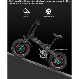 Lankeleisi Sepeda Elektrik Lipat Smart Moped Lite Edition 48V 8.7AH - G660 - Black/Gray - 4