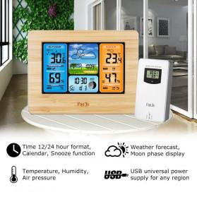 FanJu Jam Alarm LED Colorful Thermometer Forecast Weather - FJ3373 - Brown - 1