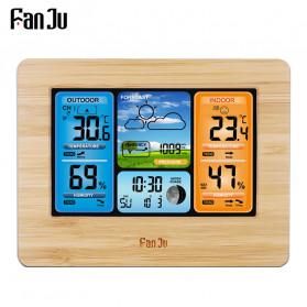 FanJu Jam Alarm LED Colorful Thermometer Forecast Weather - FJ3373 - Brown - 2