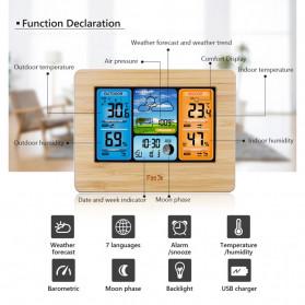 FanJu Jam Alarm LED Colorful Thermometer Forecast Weather - FJ3373 - Brown - 7