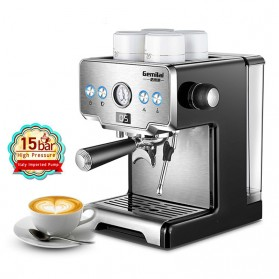 Gemilai Mesin Kopi Semi Automatic Espresso 15 Bar Italian Coffee Machine 1.7 Liter - CRM3605 - Silver Black
