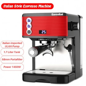 Gemilai Mesin Kopi Semi Automatic Espresso 15 Bar Italian Coffee Machine 1.7 Liter - CRM3601 - Red
