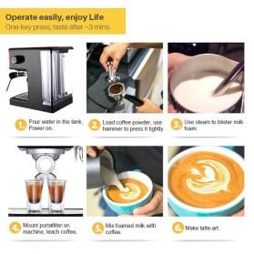 Gemilai Mesin Kopi Semi Automatic Espresso 15 Bar Italian Coffee Machine 1.7 Liter - CRM3601 - Red - 9