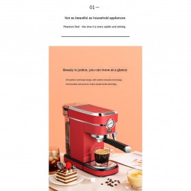 ZZUOM Mesin Kopi Semi Automatic Espresso 15 Bar Italian Coffee Machine 1.1 Liter - BG168T - Black - 3