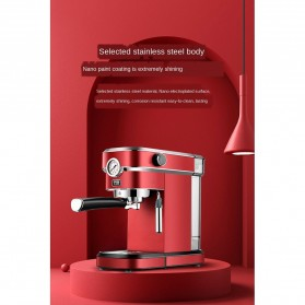 ZZUOM Mesin Kopi Semi Automatic Espresso 15 Bar Italian Coffee Machine 1.1 Liter - BG168T - Black - 4
