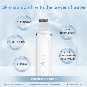 ANLAN C-103 Pembersih Wajah Elektrik Heat Ultrasonic Facial Skin Scrubber Ion Acne Skin Cleanser - ALCPJ04-02 - White - 6