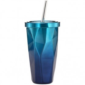 OLOEY Gelas Tumbler Kopi Teh Stainless Dengan Tutup Sedotan 500ml - AD57 - Blue