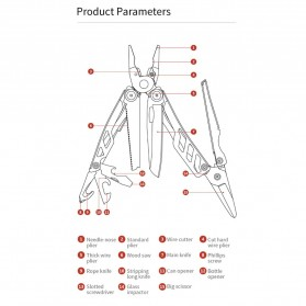 Xiaomi Huohou Pisau Multifungsi Folding Knife Pembuka Botol Screwdriver Stainless Steel - HU0040 - Silver - 10