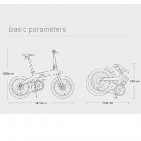 Xiaomi HIMO Z20 Sepeda Lipat Elektrik Smart Moped Bicycle 250W 80KM - Gray - 6