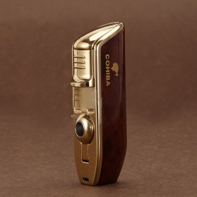 Firetric Torch Lighter Triple Jet Flame with Cigar Punch - LC-77 - Golden - 2