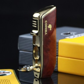 Firetric Torch Lighter Triple Jet Flame with Cigar Punch - LC-77 - Golden - 3