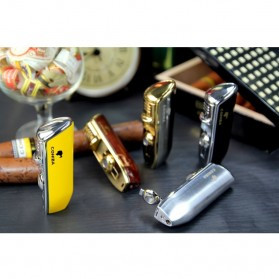 Firetric Torch Lighter Triple Jet Flame with Cigar Punch - LC-77 - Golden - 9