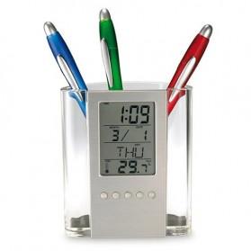 Transparent Penholder with Clock - JK-217D - Silver