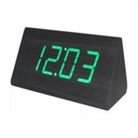 LED Digital Wood Clock - JK-828 - Black/Green