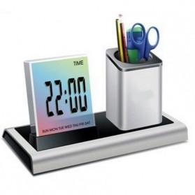 Color Change Digital Desk Clock with Pen Holder - JK-286 - Silver - 1