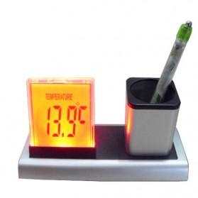 Color Change Digital Desk Clock with Pen Holder - JK-286 - Silver - 3