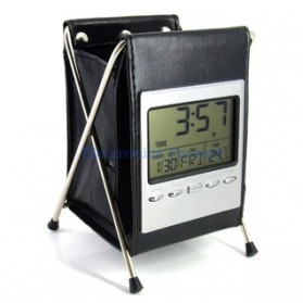 Leather LCD Penholder with Clock - Black