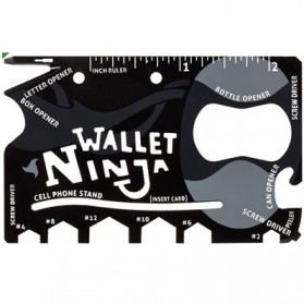 Wallet Ninja 18in1 Multi Purpose Credit Card Sized Pocket Tool - Black