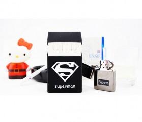 Cover Kotak Rokok Silicone Motif Superman - White/Black