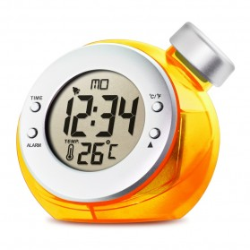 Water Powered Digital Clock with Temperature Function / Jam Temperatur - Orange