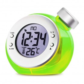 Water Powered Digital Clock with Temperature Function / Jam Temperatur - Green