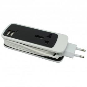 EXBO Stop Kontak Colokan Listrik Universal dengan 2 USB Port - EXBO-S15 - Black - 2