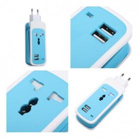 EXBO Stop Kontak Colokan Listrik Universal dengan 2 USB Port - EXBO-S15 - Black - 5