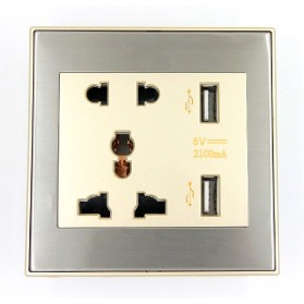 Taffware Stop Kontak Universal UK EU US & 2 USB Port - ATH1 - Golden