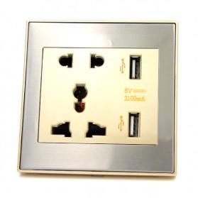 Taffware Stop Kontak Universal UK EU US & 2 USB Port - ATH1 - Golden - 3