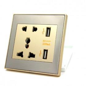Taffware Stop Kontak Universal UK EU US & 2 USB Port - ATH1 - Golden - 4