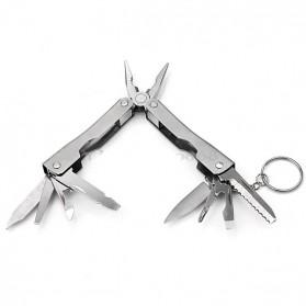 Pisau Swiss Army Pocket Knife EDC Multifungsi 9 in 1 Stainless Steel with Keychain - A014 - Silver - 4