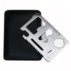 MOONBIFFY Solid Wallet EDC 11 in1 Multi Credit Card Sized - 55HRC - Silver