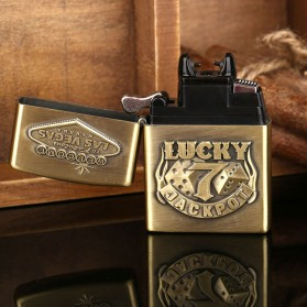 Korek Elektrik Besi Motif Lucky 7 - Golden - 6