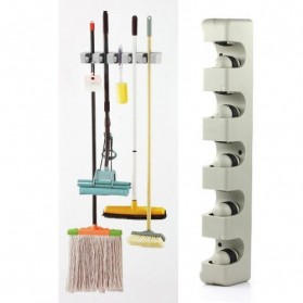 Magic Broom and Mop Holder / Gantungan Sapu dan Kain Pel - Gray