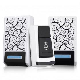 Taffware Bell Pintu Digital Wireless Remote Alarm Doorbell LED 36 Tunes 2 PCS Receiver - FK-D010 - Black