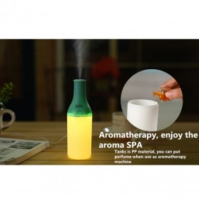 Magic Bottle USB Aromatherapy Humidifier with Night Light - White/Green - 7