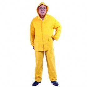 Plastic PVC Motorcycle Waterproof Rain Coat / Jas Hujan - Size XL - Yellow